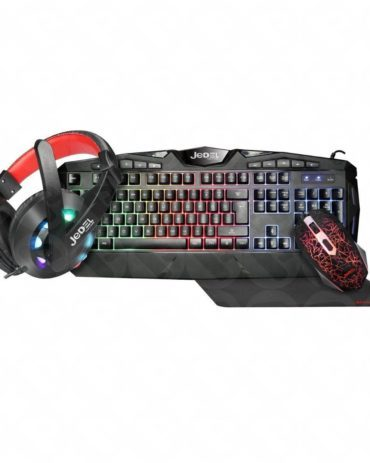 Gaming Kit Jedel CP-04 Knights Templar Elite 4-in-1- Backlit RGB Keyboard, 1000 DPI RGB Mouse, 40mm Driver RGB Headset, XL Mouse Mat